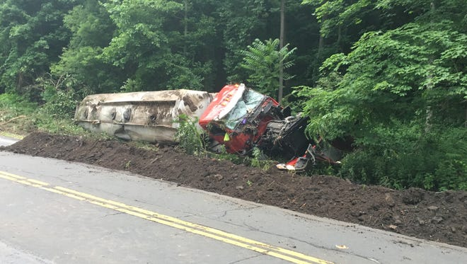 An estimated 5,000 gallons of sewage spilled from a tanker that crashed on Route 35.