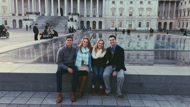 Michael Davis, left, attended Donald Trump's inauguration ceremony in January with three other Estero students - Maddie Reddish, Lindsey Kuchenbecker and Austin Reichart. Davis recently received a $2,500 academic scholarship from the Estero Chamber of Commerce.