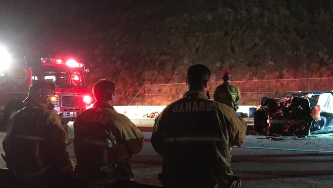 This was the scene Wednesday night after a head-on crash killed at least three people on Pacific Coast Highway near Mugu Rock.