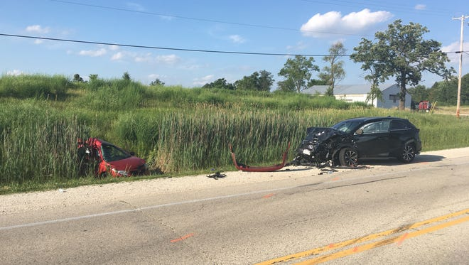A 24-year-old man was killed Thursday in a two-vehicle crash in the Town of Dover in Racine County.