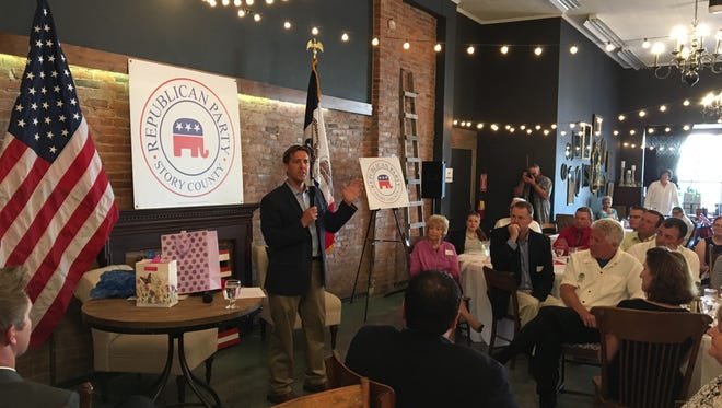 U.S. Sen. Ben Sasse, R-Neb., addresses a crowd at a Story County GOP dinner in Nevada on Friday.