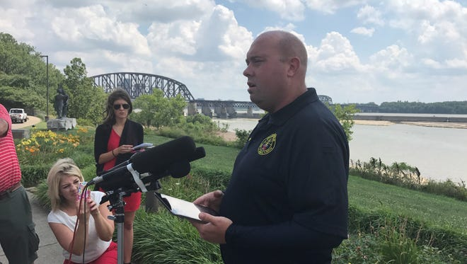Clarksville Fire Chief Brandon Skaggs addresses the media at Falls of the Ohio State Park.