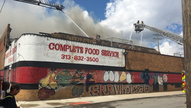 A warehouse caught fire in Detroit's Eastern Market Saturday morning.