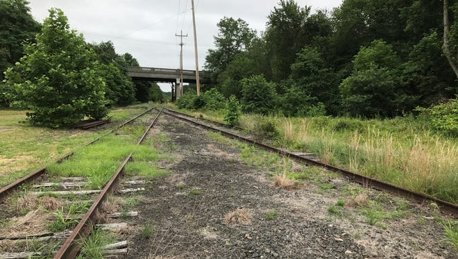 Still intact today: The old Barnegat Branch rail line (right) diverges from the rest of the defunct Central Railroad of New Jersey line (left) in Lakehurst. The track on the right is bound for Toms River. The track on the left is bound for Whiting in Manchester.