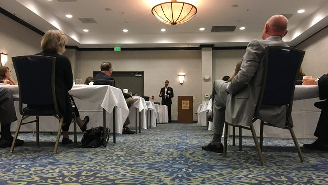 The Federal Communications Commission Chairman Ajit Pai speaks at a broadband roundtable in Waynesboro on Tuesday, July 11, 2017.