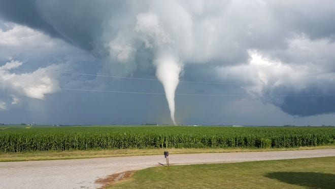 This EF-1 tornado was spotted tracking to the northeast in Iowa County east of Conroy Tuesday evening, July 11.