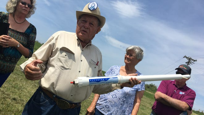 Frank Nolen, former state senator, with a potato cannon promoting a new event at Augusta Expo in August.