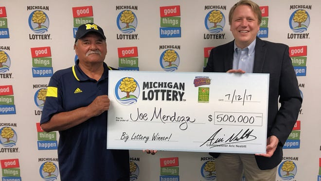 Joe Mendoza of Sanilac County won $500,000 with the Lucky 7's Tripler instant game.
