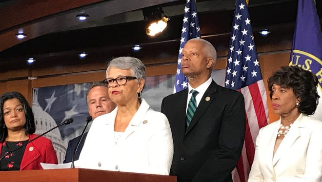 Rep. Bonnie Watson Coleman, D-Mercer County, speaks at a July 14, 2017 news conference about an effort to require the Department of Homeland Security to reveal spending connected to the Trump Organization.
