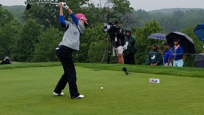 Naples High graduate Kris Tamulis tees off in the second round of the U.S. Women's Open on Friday, July 14, 2017, at Trump National Golf Club in Bedminster, N.J. Tamulis shot a 73 for a 147 total and missed the cut by a stroke.