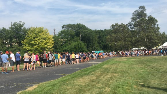 Going to the Michigan Brewers Guild Summer Beer Festival? Bring your patience, and your tickets. Saturday's session is sold-out. Pictured here is Friday's entry line.