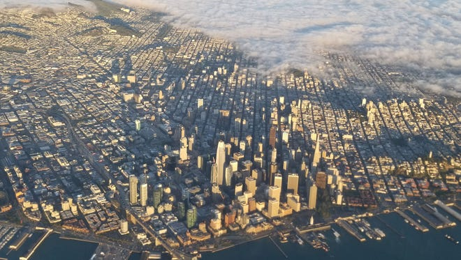 This photo shows an aerial view of San Francisco, California on July 7, 2017.