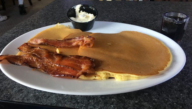 A stack of pancakes from Bigfoot Bacon and Brew.
