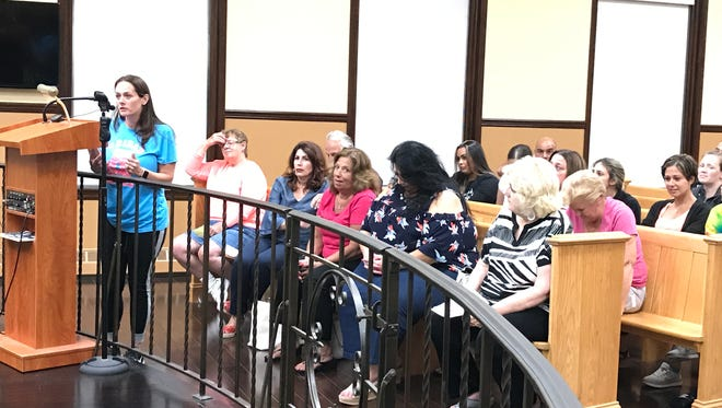 Helen Primavera spoke in favor of the auxiliary school being moved to the Garfield Boys and Girls Club for a year at the July 25 council meeting.