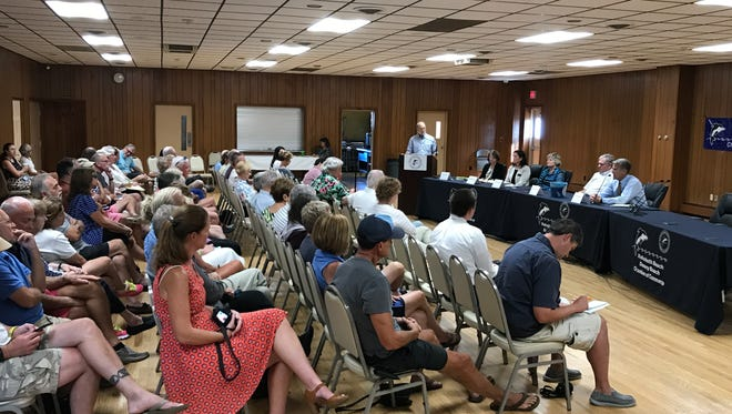 Rehoboth Beach mayoral candidates and commissioner candidates answer questions during the Rehoboth Beach-Dewey Beach Chamber of Commerce candidate forum  Monday, July 31, 2017 at the Rehoboth Beach Volunteer Fire Company.