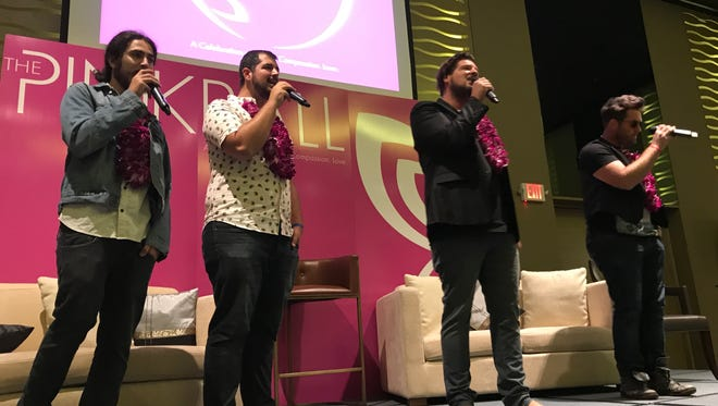 Ohio-based rock band Hey Monea gives the audience a taste of their music at the Pink Ball press conference at the Dusit Thani Guam Resort on August 3, 2017.