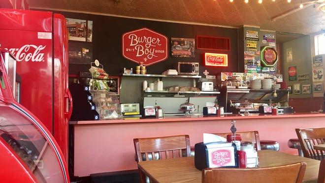 The interior of Burger Boy Diner