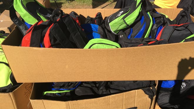 A large crowd turned up on a beautiful morning to collect school supplies at  Mayor McCullough's Back to School Bash. The event took place Saturday morning at Riverbluff Park in Ashland City.