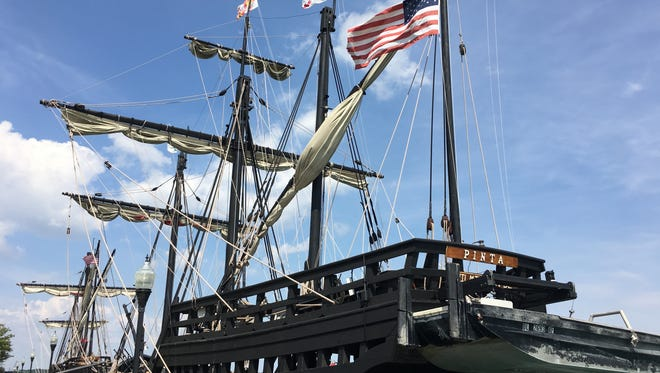 Christopher Columbus replica ships, the Pinta and the Nina, dock at Wyandotte's Bishop Park. They'll be open for tours Thursday-Sunday before departing for a stop in Traverse City.
