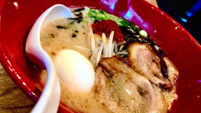 Ippudo Berkeley's Akamaru Modern ramen with a soft-boiled egg.