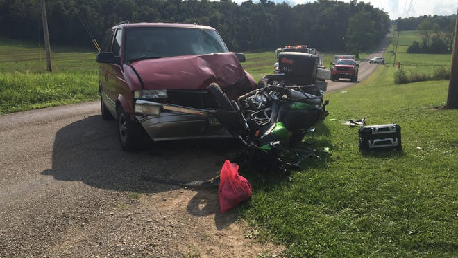 A 29-year-old Mansfield man was ejected from his motorcycle after a crash in Monroe Township on Monday, Aug. 14, 2017. Tyler Neel was transported to OhioHealth Mansfield Hospital with non-life-threatening injuries.