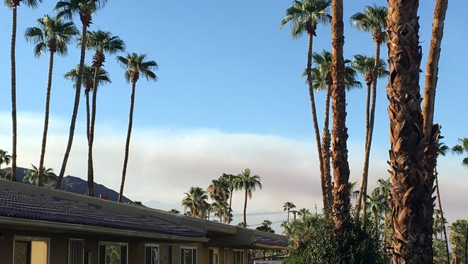Smoke from the Mias fire in Banning from the Coachella Valley.