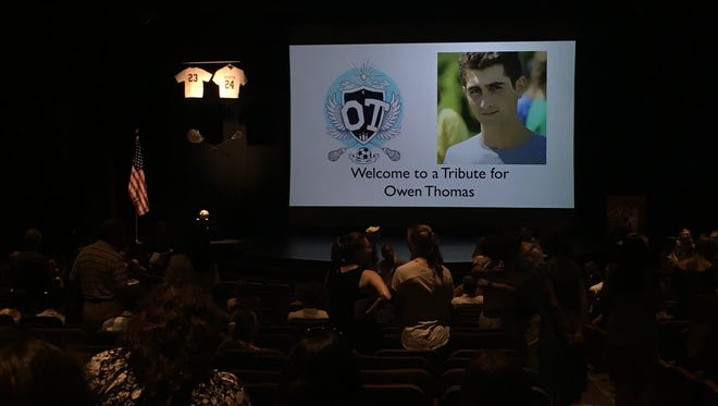 Owen Thomas, a Brighton teenager, was killed earlier this month in a boating accident. A tribute was held on Aug. 17.