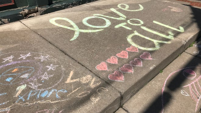 """Community members called for a """"Chalk rally"""" in a Honeoye Falls-LimaFacebook group."""