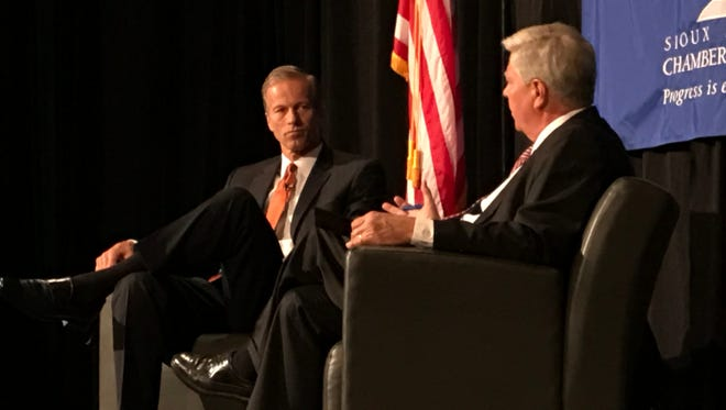 Sen. John Thune speaks in Sioux Falls Friday, August 18.