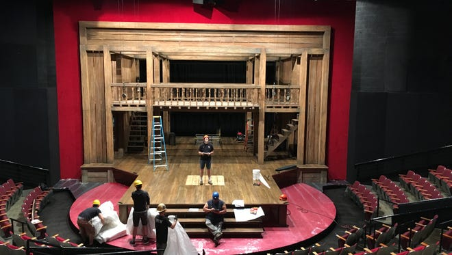 """The still-in-progress version of an Elizabethan stage that will be the set for """"Shakespeare in Love."""""""