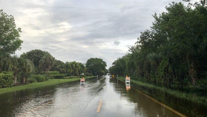 Rain-slicked Bailey Road on Sanibel Island. The photo was taken the morning of Monday, Aug. 28.