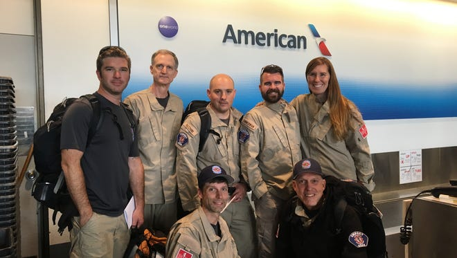 Empact Northwest's team of seven at Sea-Tac Airport just before heading south for Hurricane Harvey emergency response.