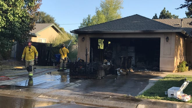 A fire on Monday destroyed a garage at Monterra Lane in south Redding