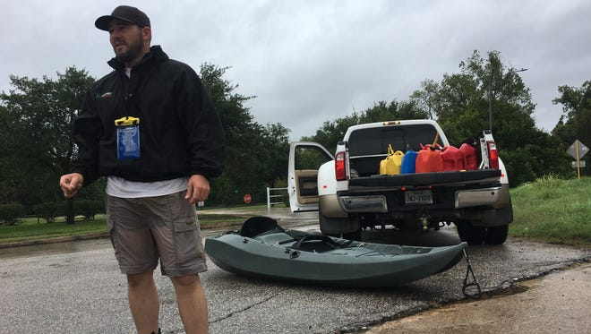 Brett Schere, 34, of Drippings Springs, Texas, traveled to Houston with a convoy of 12 other people and seven boats to help stranded residents.