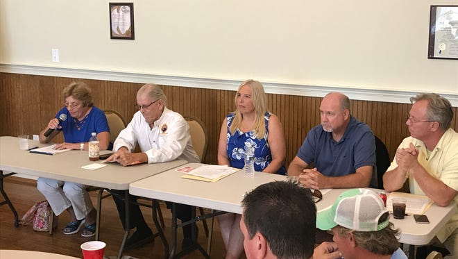 From left to right are Diane Hanson, Mayor Dale Cooke, Jill Compello, Paul Bauer and TJ Redefer at a Dewey Beach candidate forum.