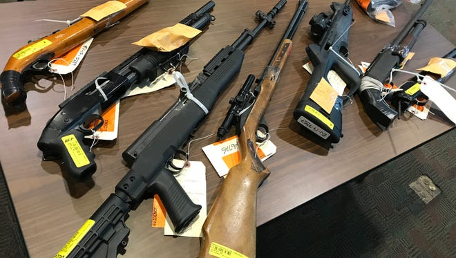 Some of the guns seized by the Rochester Police Department in July and August.