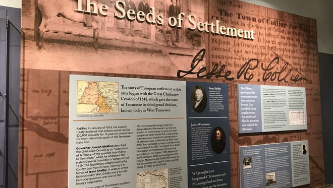 This exhibit at the Morton Museum of Collierville History tells the story of Jesse R. Collier and the town's beginings.