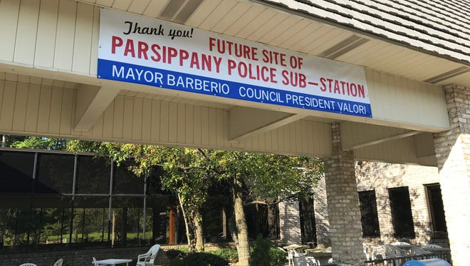 A banner announced a new police substation planned for Powder Mill Plaza on Route 10. Mayor Michael Soriano has scrapped plans for the substation after reading a memo from the police chief.