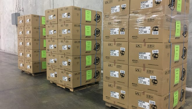 Mercury Marine products await to be shipped to Houston, TX to aide in the Hurricane Harvey relief efforts.