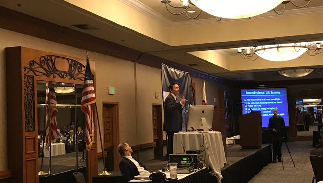 Mark Schniepp, director of the California Economic Forecast, delivers the keynote speech at Thursday's Thursday's 2017 Entrepreneur Economic Forecast conference in Thousand Oaks.