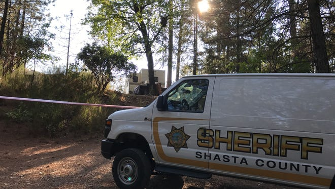 A Shasta County sheriff's crime scene van is parked at an RV campground near Lakehead. Residents there reported a fatal stabbing on Friday, Sept. 8, 2017.
