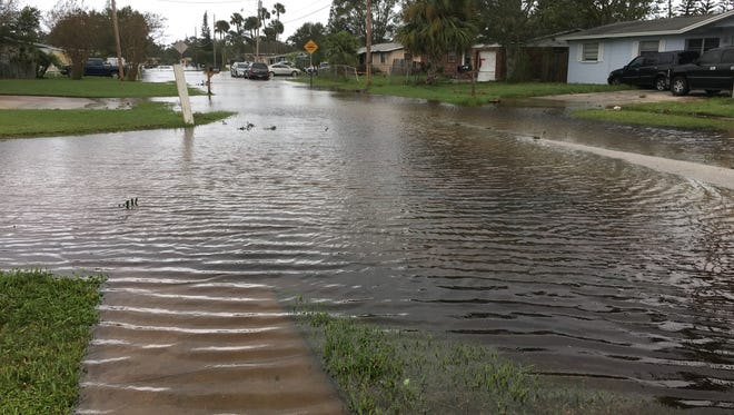 Flooding on Stratford Drive in central Brevard County led to more than 40 people evacuating Monday.