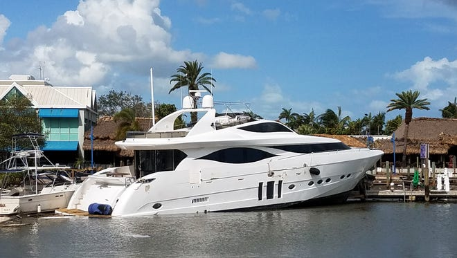 This 110-foot boat destroyed a 240-foot dock at Dinner Key Marina in Miami during Hurricane Irma.