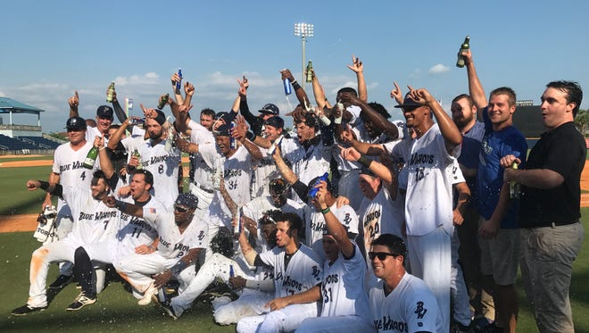The Blue Wahoos celebrate their Southern League co-championship Friday after a 12-inning victory against the Jacksonville Jumbo Shrimp and sweep of the division championship series.