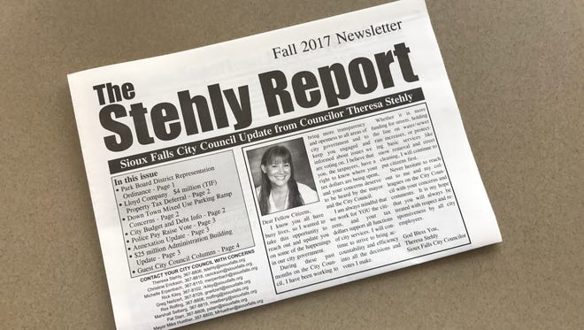 Sioux Falls City Councilor Theresa Stehly is sending her own personal newsletter to more than 10,000 registered voters in Sioux Falls.