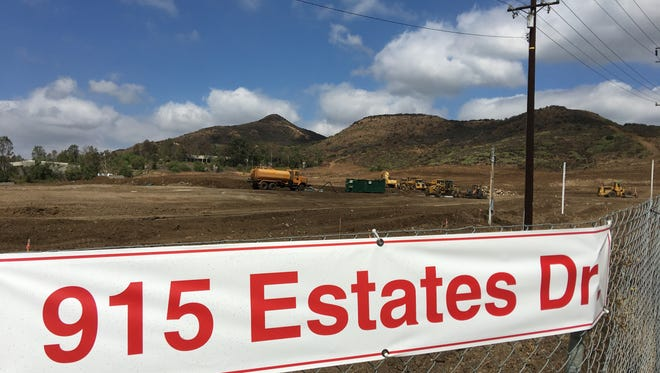 Grading has begun at the Newbury Park site of a planned Lowe's and LA Fitness.