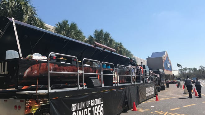 The Johnsonville Big Taste Grill helping with hurricane relief efforts at Lowe's in Naples