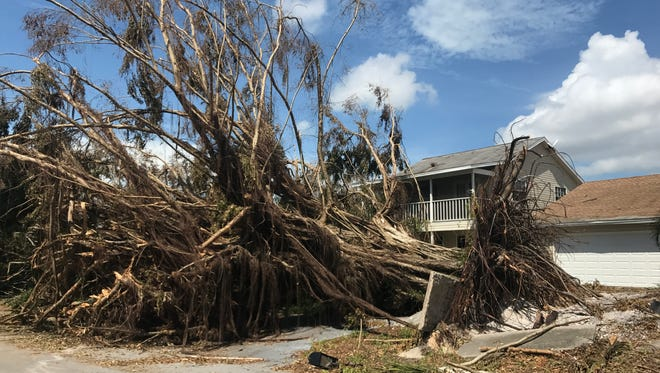 Damage from Hurricane Irma can be seen on Marco Island on Sept. 13, 2017, three days after the hurricane made landfall.