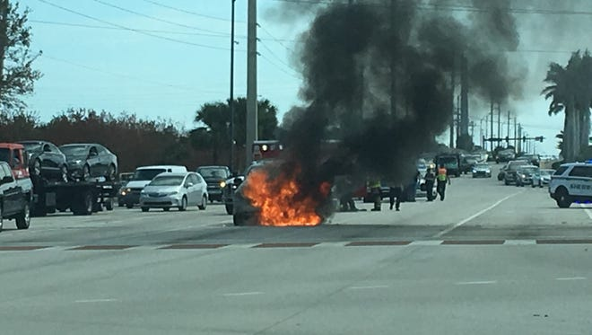Car fire spotted near Sykes Creek Parkway and State Road 520 in Merritt Island.