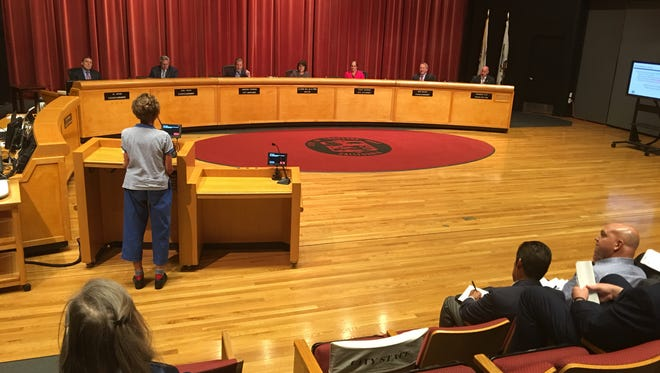 At Tuesday night's Thousand Oaks City Council meeting, a few residents spoke out against California American Water's proposed three-year rate hike of more than 40 percent, as company officials looked on.